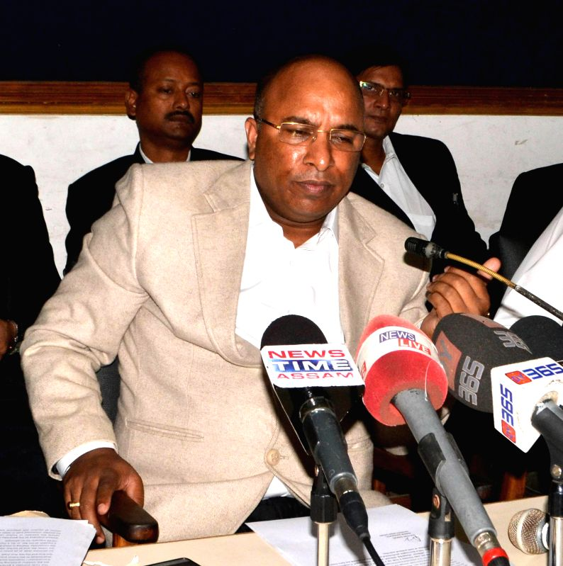Former additional advocate-general of Assam, Debojit Saikia addresses a press conference regarding his removal at Guwahati Press Club on Dec 1, 2014.