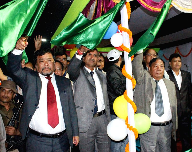 Former Lok Sabha speaker and present Tura MP Purno Sangma along with others simultaniously flags off the first train which started between Mendipathar and Guwahati that was flagged off by .. - Narendra Modi