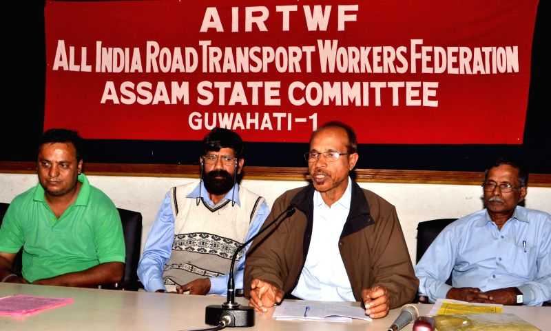 General Secretary of All India Road Transport Workers' Federation Assam State committee, Biren Sarma addresses a press conference, regarding All India Road Transport Workers' Federation ...
