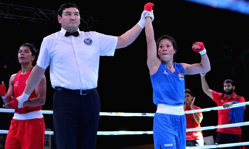 Guwahati: India's MC Mary Kom after winning against Nikhat Zareen of India during the semi-final of the 2nd India Open International Boxing Tournament, in Guwahati on May 23, 2019.