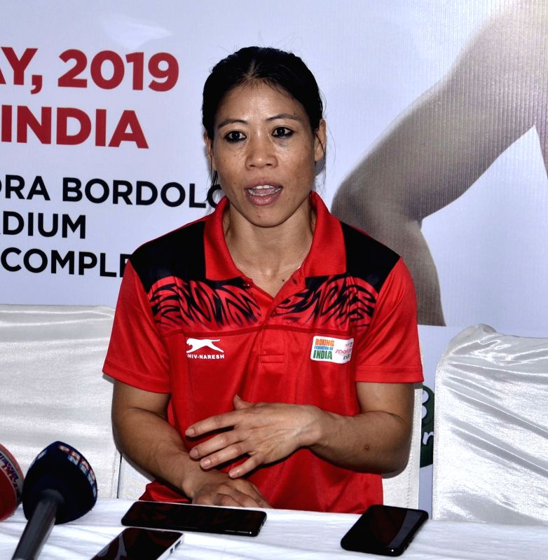 Guwahati: Indian woman boxer Mary Kom addresses a press conference after winning gold medal in the finals at the second edition of India Open International Boxing Tournament 2019 at Nabin Chandra Bordoloi Stadium in Guwahati, on May 24, 2019. (Photo: