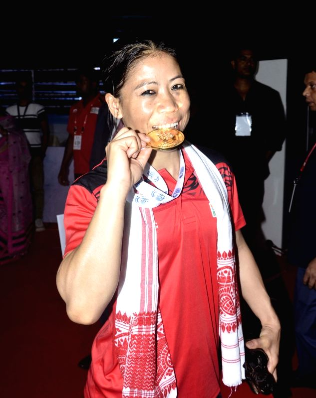 Guwahati: Indian woman boxer Mary Kom after winning gold medal in the finals at the second edition of India Open International Boxing Tournament 2019 at Nabin Chandra Bordoloi Stadium in Guwahati, on May 24, 2019. (Photo: IANS)