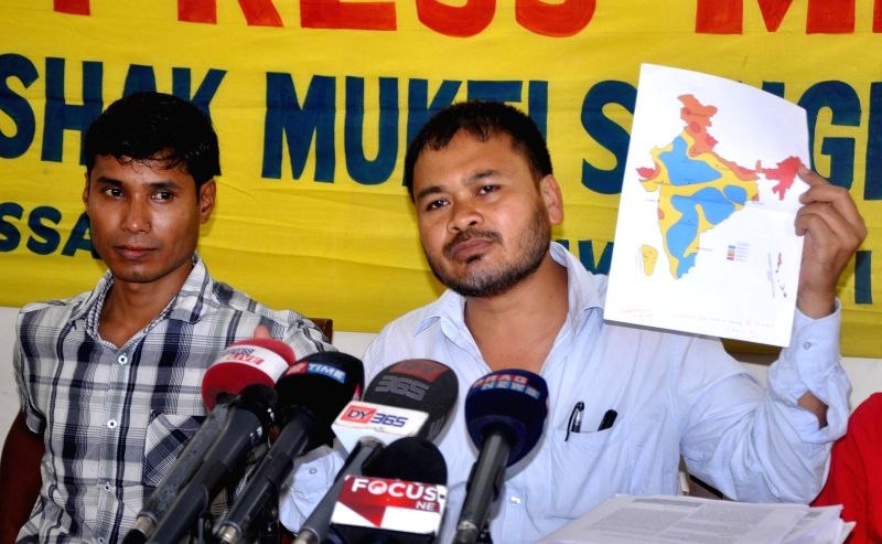 KMSS leader Akhil Gogoi addresses a press conference in Guwahati, on April 28, 2015.
