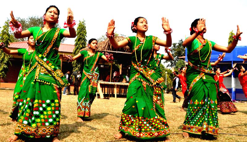 Mishing tribals perform their traditional dance during Ali-Aye-Ligang - spring festival - festival in Guwahati on Feb 18, 2015.