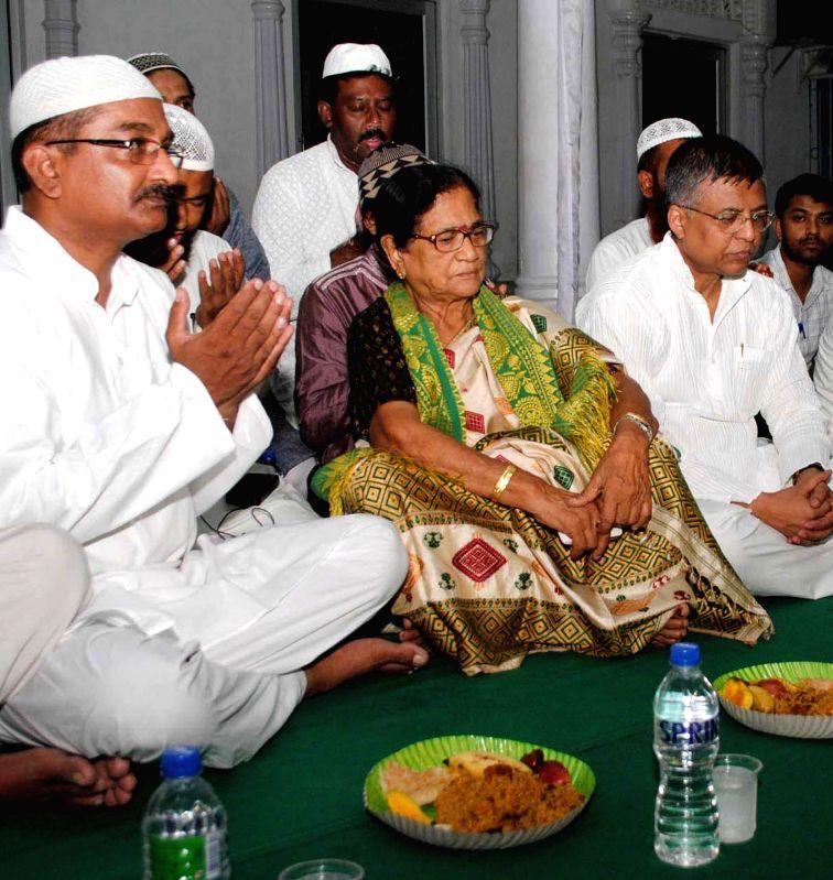 Guwahati MP and BJP leader Bijoya Chakraborty during iftaar at Buda Masjid in Guwahati on July 28, 2014.