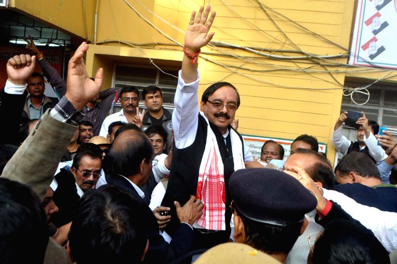 Newly elected Assam Congress chief Anjan Dutta being welcomed at Rajib Bhawan in Guwahati, on Dec 18, 2014.