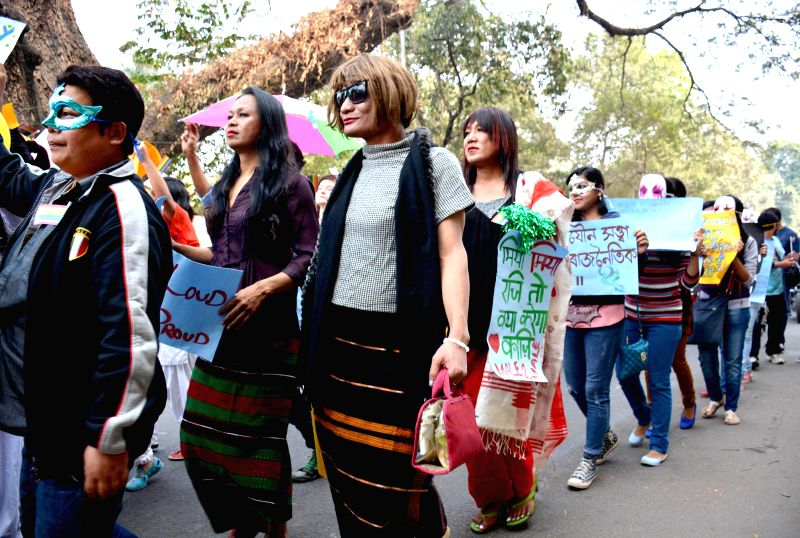 People from the LGBT (Lesbian, Gay, Bisexual, and Transgender) community participate in an awareness rally in Guwahati, on Feb 15, 2015.