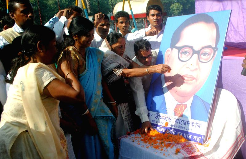 People paying tribute to Dr B.R Ambedkar during the celebration of the 58th death anniversary of Bharat Ratna Dr B.R Ambedkar in Guwahati on Dec 6, 2014.