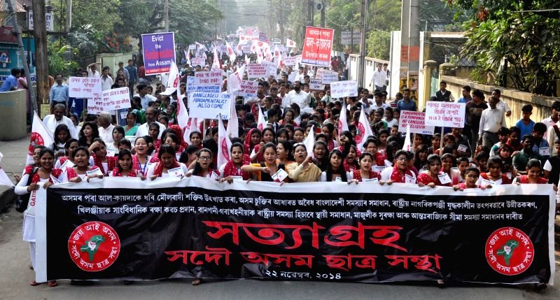 Peoples from different part of Assam taking out a Satyagraha organized by All Assam Student`s Union (AASU), demanding the deport of  illegal Bangladeshi migrants, wipe out of fundamentalist