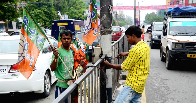 Preparations for BJP's upcoming rally underwayin Guwahati, on April 25, 2015.