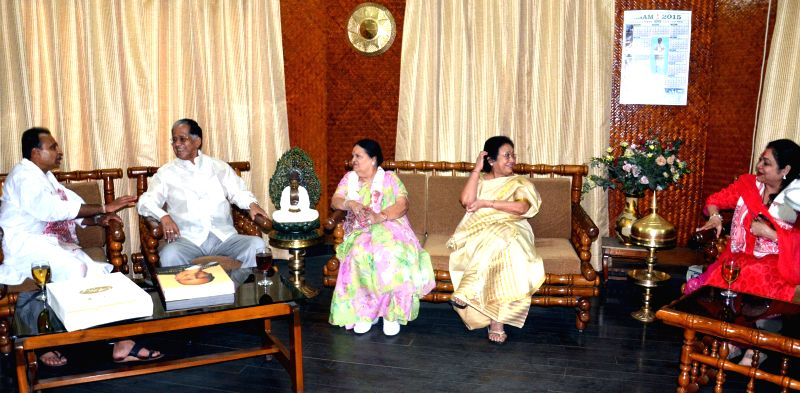 Reliance ADAG chairman Anil Dhirubhai Ambani, his wife Tina Ambani and his mother Kokilaben Dhirubhai Ambani call on Assam Chief Minister Tarun Gogoi in Guwahati, on March 21, 2015. - Tarun Gogoi, Kokilaben Dhirubhai Ambani and Tina Ambani