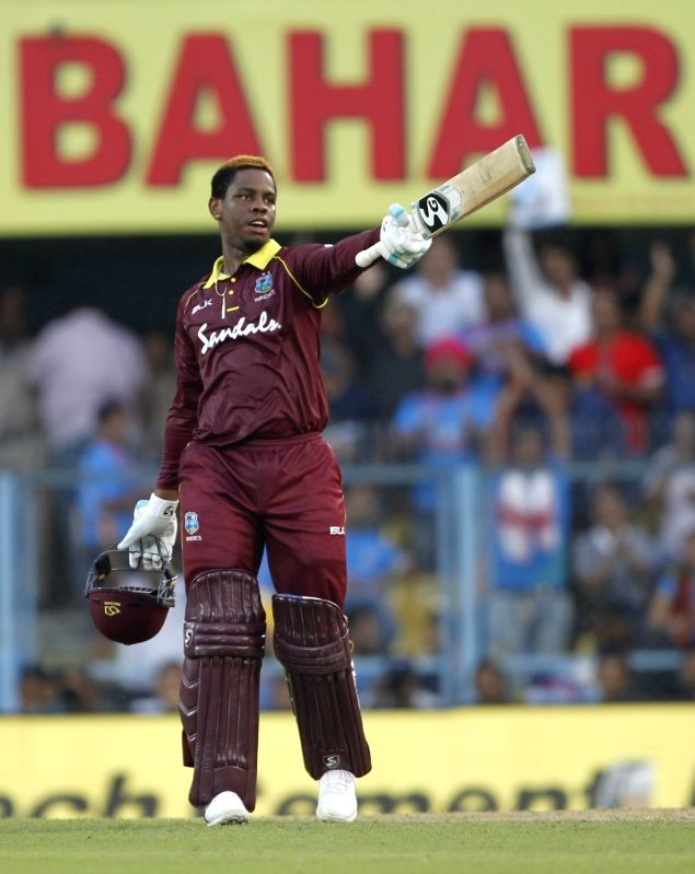 : Guwahati: Shimron Hetmyer of West Indies celebrates his century during the first ODI (One Day International) match between India and West Indies at the Barsapara Cricket Stadium in Guwahati, on ...