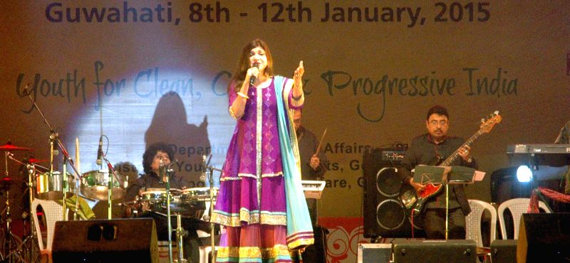 Singer Alka Yagnik performs during the closing ceremony of the 19th National Youth Festival, in Guwahati on Jan 12, 2015.