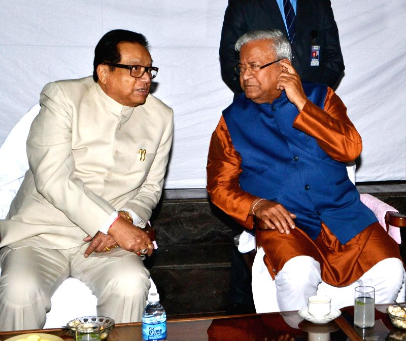 Speaker of Assam Legislative Assembly Pranab Gogoi and  the Governor of Assam P. B. Acharya on the Day -1 of Assam assembly's budget session in Guwahati, on March 2, 2015.