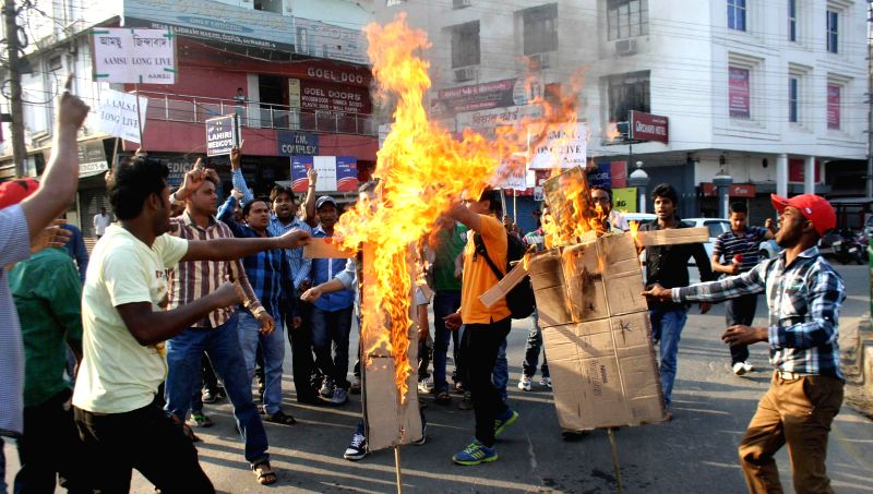 The activists of All Assam Minority Students Union (AAMSU) burn effigy of Home Minister Rajnath Singh and Nagaland Chief Minister T. R. Zeliang protesting against the brutal killing of an ... - Rajnath Singh