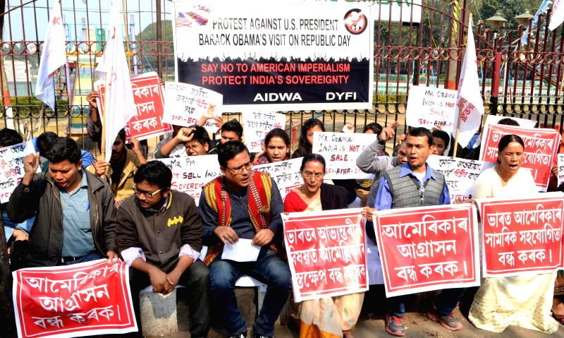 The activists of Students Federation of India (SFI), Democratic Youth Federation of India (DYFI) and  All India Democratic Women's Association (AIDWA) stage a demonstration against U.S. ...