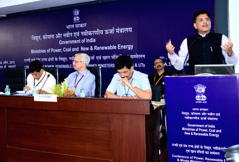 The Minister of State (Independent Charge) for Power, Coal and New and Renewable Energ Piyush Goyal addresses the Conference of Power, Renewable Energy and Mines, Ministers of States & ...