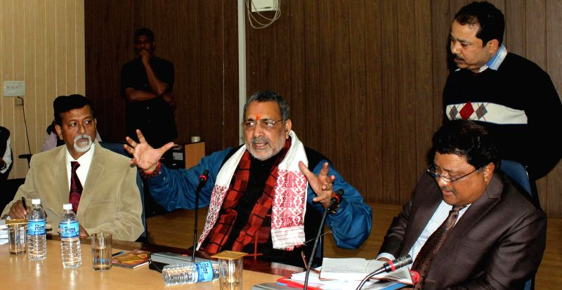 The Union Minister of State for Micro, Small and Medium Enterprises, Giriraj Singh addresses at the inauguration of the Corporate Social Responsibility HUB, at IIE Campus, in Guwahati, ...