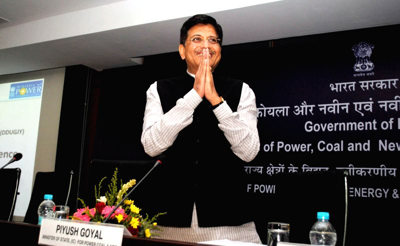 The Union Minister of State (Independent Charge) for Power, Coal and New and Renewable Energy Piyush Goyal during a Conference of Power, Renewable Energy and Mines, Ministers of States and ...