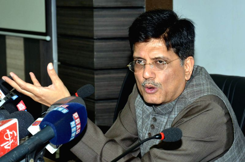 The Union Minister of State (Independent Charge) for Power, Coal, New and Renewable Energy Piyush Goyal addresses a press conference in Guwahati, on April 10, 2015.
