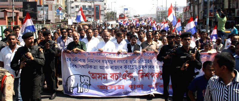 The workers of Asom Gana Parishad (AGP) participates in a protest rally against the central government in Guwahati on March 3, 2015.
