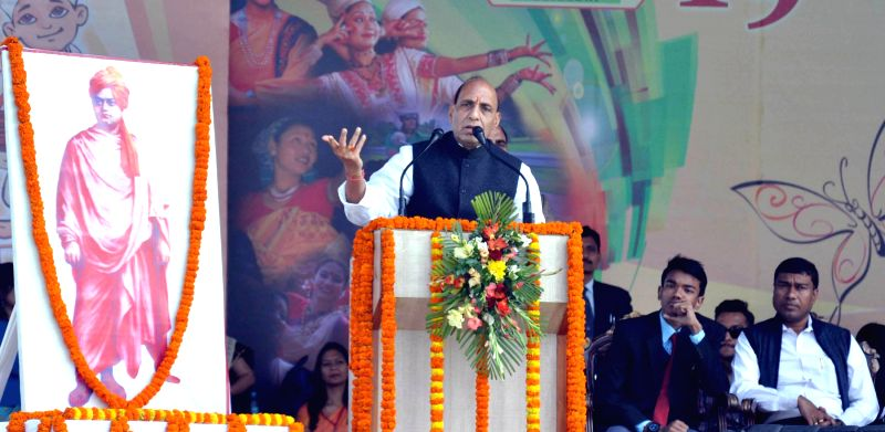 Union Home Minister Rajnath Singh addresses during the closing ceremony of the 19th National Youth Festival, in Guwahati on Jan 12, 2015.