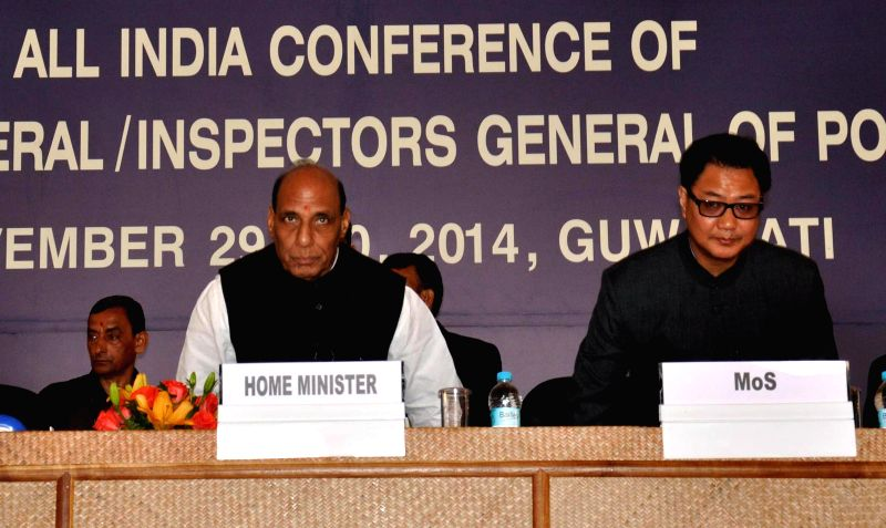 Union Home Minister Rajnath Singh during the inaugural programme of All India conference of Director General/Inspectors General of Police in Guwahati on Nov 29, 2014.