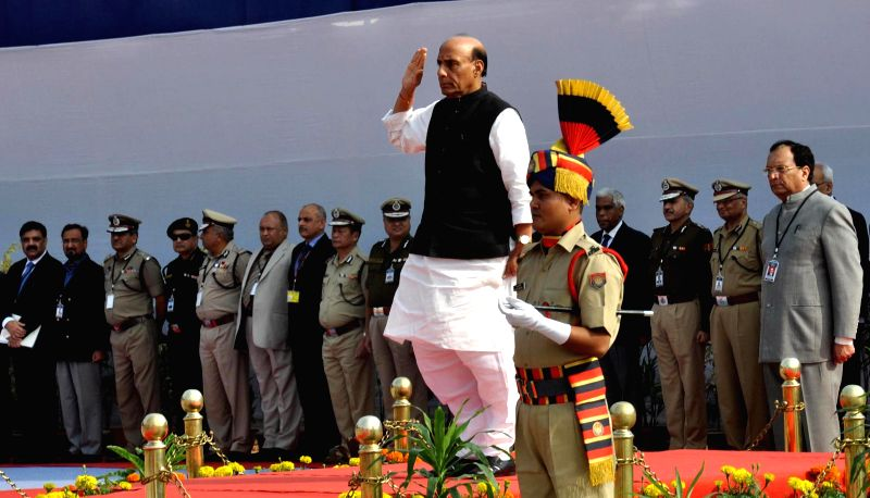 Union Home Minister Rajnath Singh`s receives the guard of honour while arrives for the inaugural programme of All India conference of Director General/Inspectors General of Police in ...