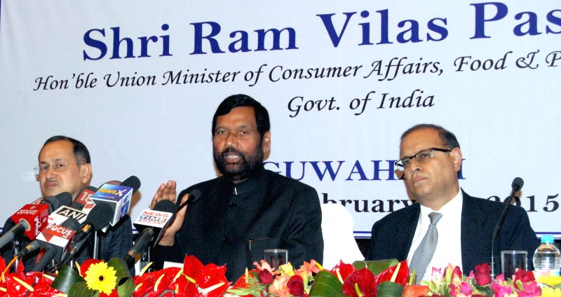 Union Minister for Consumer Affairs, Food and Public Distribution Ramvilas Paswan addresses a press conference  after the conclusion of at the 2nd meeting of Parliamentary Consultative ...