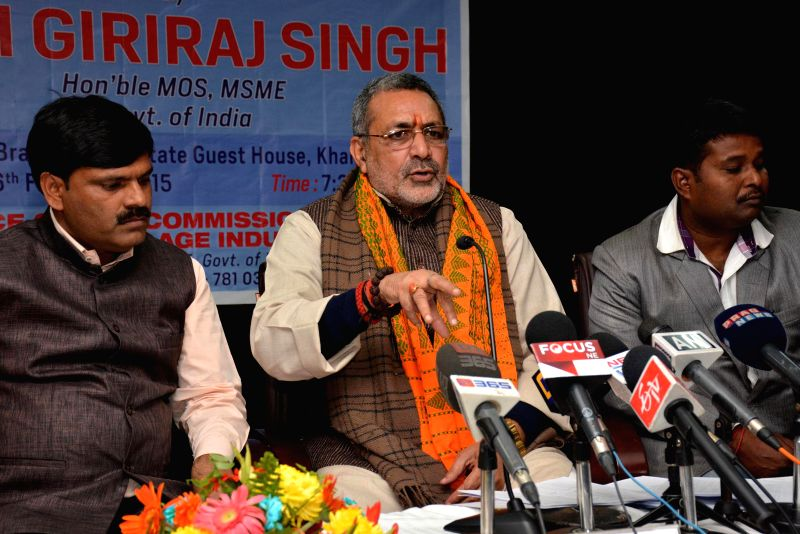 Union Minister of State for MSME Giriraj Singh addresses press during his visit in Guwahati on Feb 6, 2015.