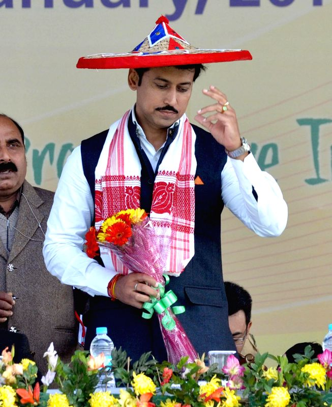 Union Minister of State Information and Broadcasting Col. Rajyavardhan Singh Rathore during the closing ceremony of the 19th National Youth Festival, in Guwahati on Jan 12, 2015. - Rajyavardhan Singh Rathore