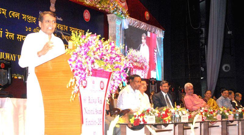 Union Railways Minister Suresh Prabhakar Prabhu during the 60th Railway Week National Awards for Outstanding Services-2015 in Guwahati, on April 13, 2015. - Suresh Prabhakar Prabhu