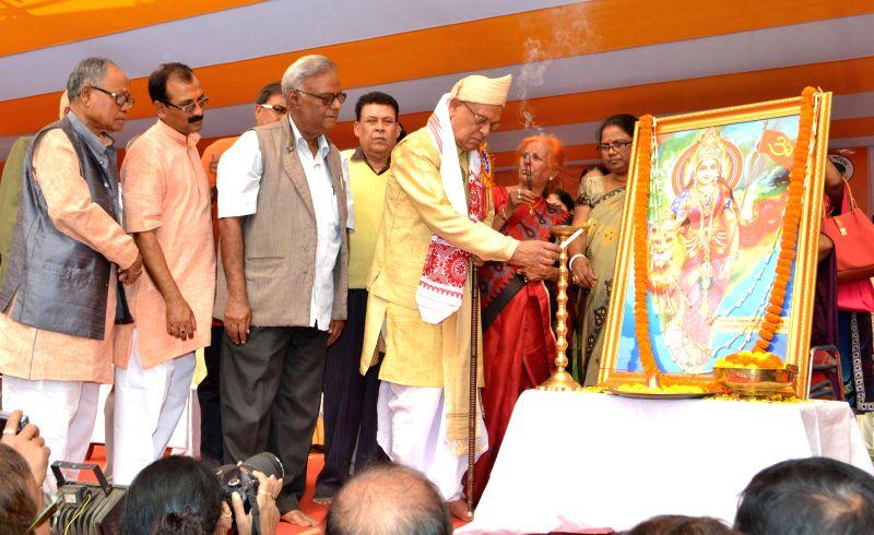 VHP leader Bhadrakrishna Goswami and others at the inauguration of Virat Hindu Sammelan in Guwahati, on Feb 12, 2015. - Bhadrakrishna Goswami