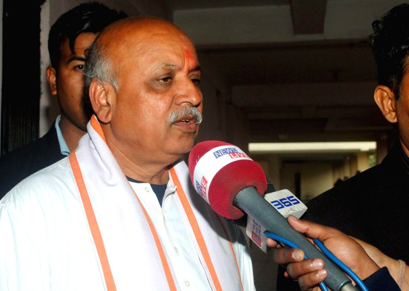 VHP leader Praveen Togadia talks to press  in Guwahati on Feb 12, 2015.