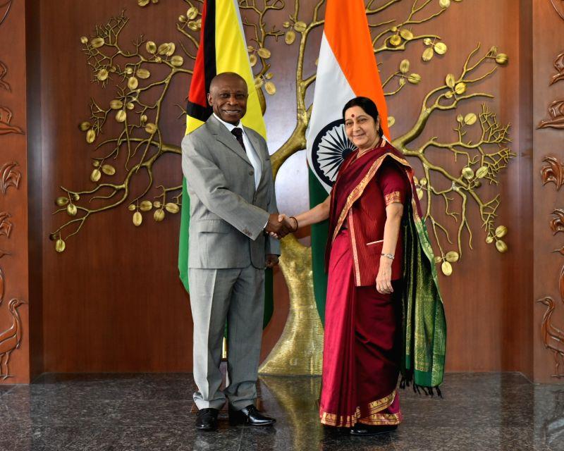 Guyana's Vice President and Minister of Foreign Affairs Carl B. Greenidge meets External Affairs Minister Sushma Swaraj in New Delhi on Jan 30, 2018. - Sushma Swaraj