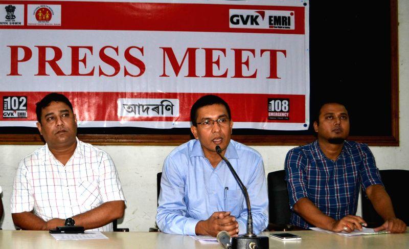 GVK EMRI COO Santana  Sarma during a press conference at Guwahati Press Club in Guwahati on Aug 29, 2014.