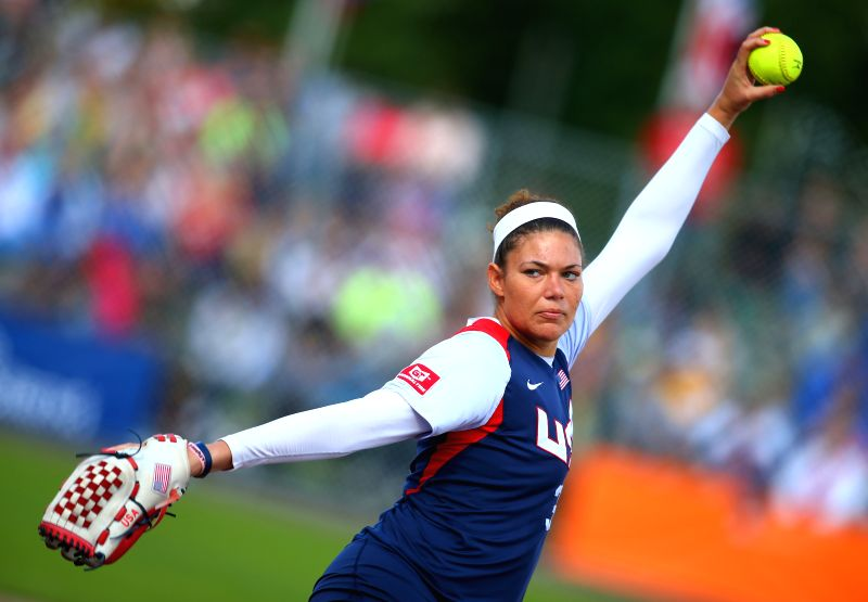 Sara Nevins of the United States delivers the ball during the final against Japan at 2014 Women's World Softball Championship in Haarlem, the Netherlands, Aug. 24, .
