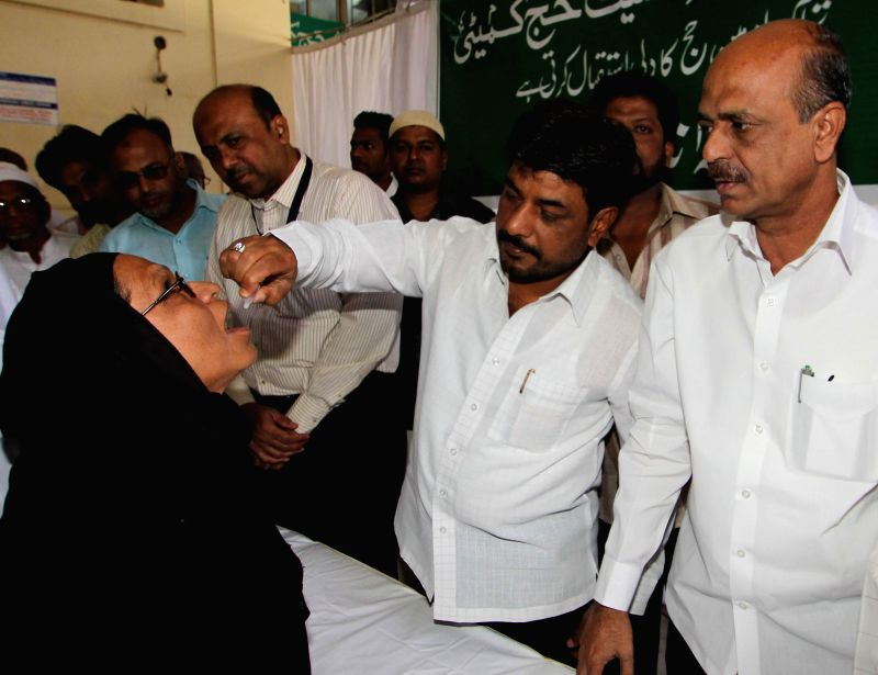 Haj pilgrims at a vaccination camp set up at Haj House in Hyderabad on Sept 2, 2014.