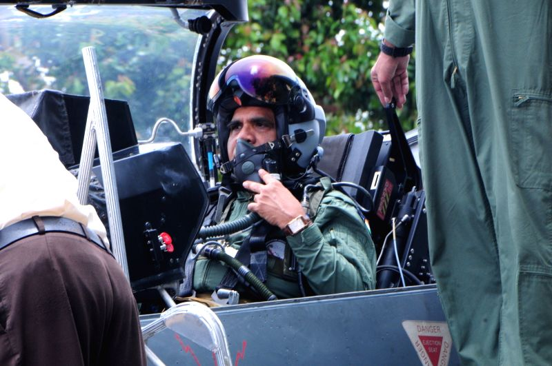 HAL Chairman T. Suvarna Raju flies in a Light Combat Aircraft Tejas from the HAL Airport in Bengaluru.
