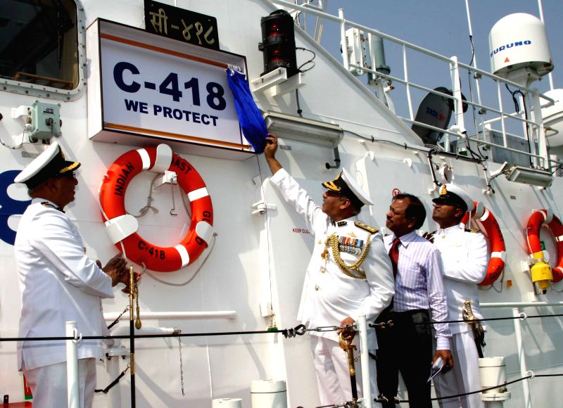 Commander Coast Guard Region (NE), Inspector General V.S.R. Murthy commissioning the ICGS C-418, an Interceptor Boat (IB), at Haldia, in West Bengal on April 10, 2015.