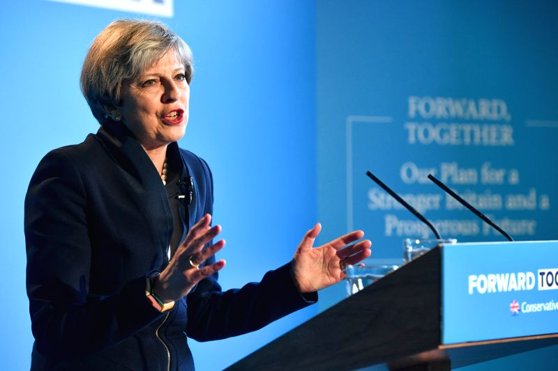 HALIFAX, May 19, 2017 - British Prime Minister and leader of the Conservative Party Theresa May launches the Conservative Manifesto during the 2017 general election campaign in Halifax May 18, 2017. ...