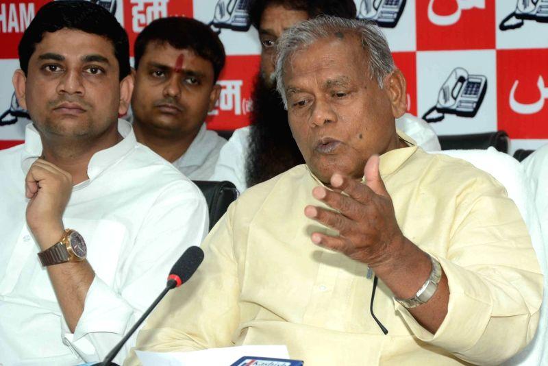HAM leader Jitan Ram Manjhi addresses a press conference in Patna on May 23, 2016.