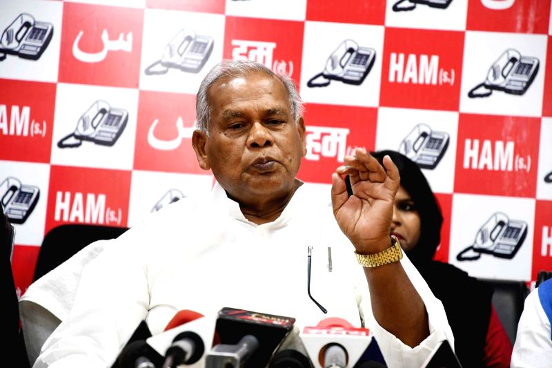 HAM leader Jitan Ram Manjhi addresses a press conference  in Patna on May 2, 2017.