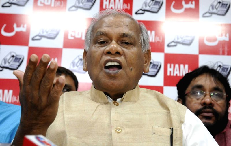 HAM leader Jitan Ram Manjhi addresses a press conference in Patna on May 16, 2017.