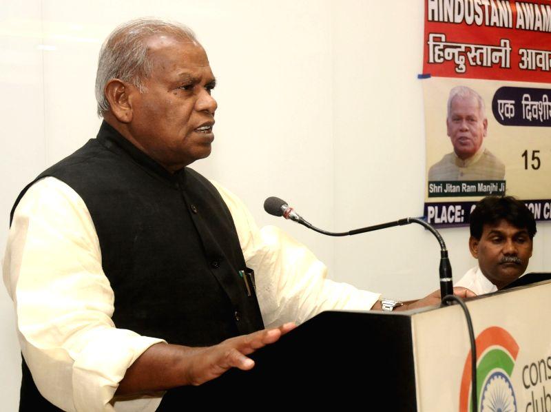 HAM leader Jitan Ram Manjhi addresses at a party meeting in New Delhi on May 15, 2016.