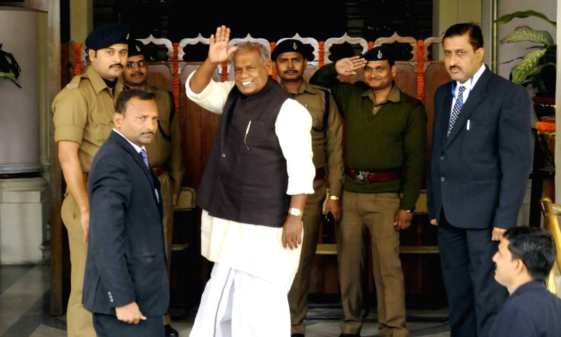 HAM leader Jitan Ram Manjhi arrives at Bihar assembly in Patna, on Dec 8, 2015.