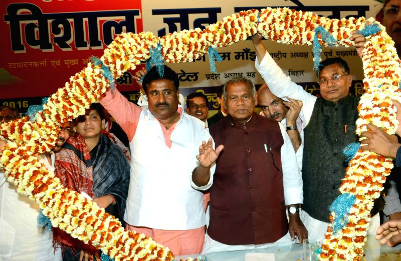 HAM leader Jitan Ram Manjhi during a party programme in Patna, on March 1, 2016.