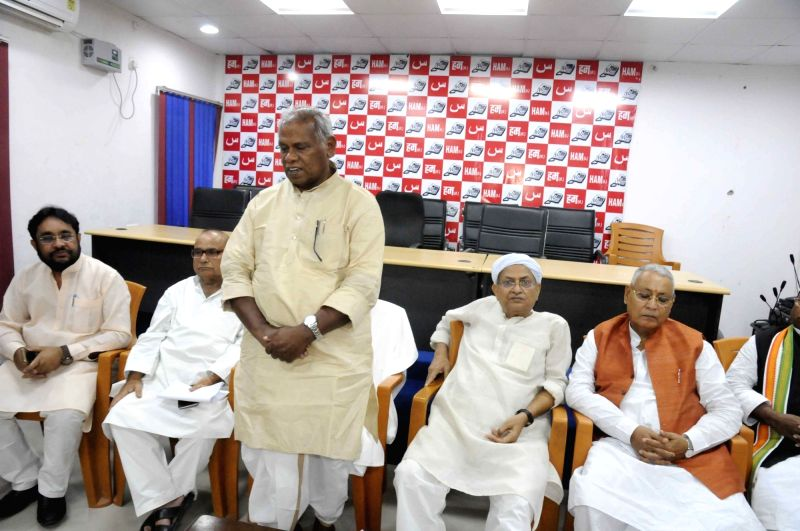 Jitan Ram Manjhi during a party meeting