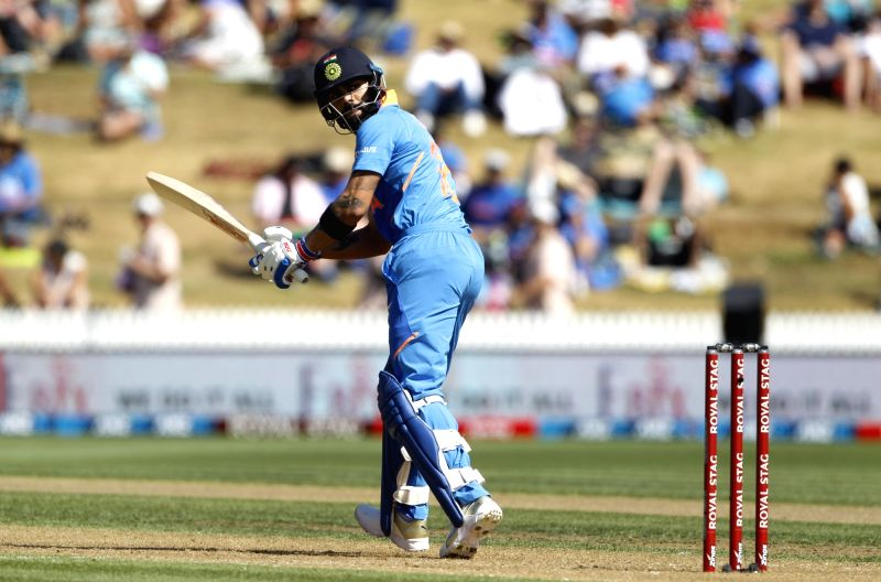 Hamilton: Indian skipper Virat Kohli in action during the 1st ODI of the three-match series between India and New Zealand at the Seddon Park in Hamilton, New Zealand on Feb 5, 2020. (Photo: IANS)