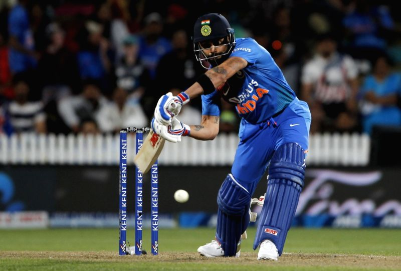Hamilton: Indian skipper Virat Kohli in action during the third T20I of the five-match rubber at Seddon Park in Hamilton, New Zealand on Jan 29, 2020. (Photo: IANS)